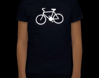Kids REFLECTIVE T-shirts with a bicycle logo (e-kanape reflective clothing)