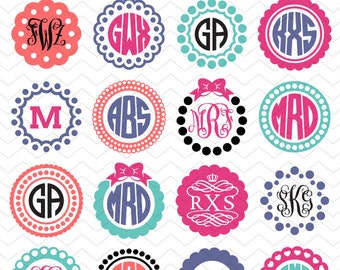 20 Scalloped Monogram Frames - SVG, DXF, EPS, Studio3 - Circle Monograms Cut Files for Silhouette Studio, Cricut Explore, Vinyl Cutters