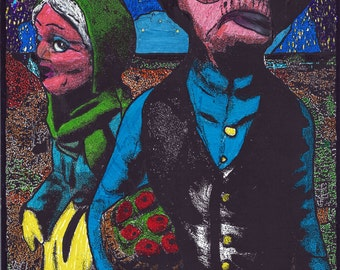 "Art Print of Benjie Loveless Original , "" American Tchochkie"" illustration, Pop Surrealism, low brow,"