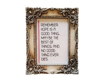 Shawshank Redemption Stephen King quote framed cross stitch