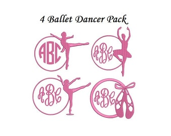 Ballet Embroidery Design in 2 Sizes - INSTANT DOWLOAD Gymnastics Embroidery