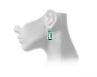 14K 18K Solid Gold Green Prasiolite Earrings, Prasiolite Drop Earrings, 18K Earrings, 14k Earrings, Bridal Earrings, Gold Leverback Earrings