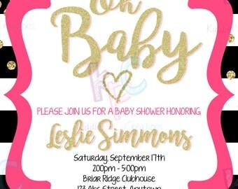 "Gold Confetti 5""x7"" Printable Baby Shower Invitation Black White Gold Glitter Pink Stripes {Digital File Only}"