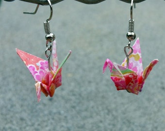 Origami Earrings - Pink / Red
