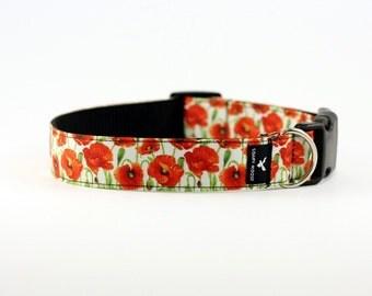 Red Poppies Dog collar, Hand made in Australia, flower print dog collar, poppies, red flower, poppy dog collar, puppy collar, dog bow tie