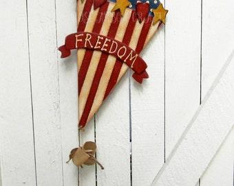 4th of July Door Wall Hanger Red White Blue Patriotic Outdoor Kite Yard Art Yard Sign Wood Door Decor Door Hanger Americana Primitive Tole