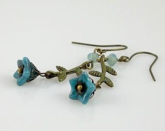 Bronze Turquoise Teal Blue Pacific Opal Swarovski Crystal & Czech Flower Beaded Dangle Earrings
