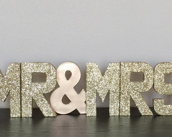 "Gold Silver Glitter Stand Up Paper Mache ""Mr & Mrs"" Sign- Shower - Engagement - Wedding - Sweetheart Table - Cake Table - Photo Prop - Decor"