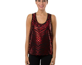 Workout Fashion Women's Black/Red Zebra Tank Top