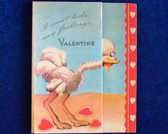 Funny 1940's Ostrich Valentine Greeting Fold Out Card By G.B.