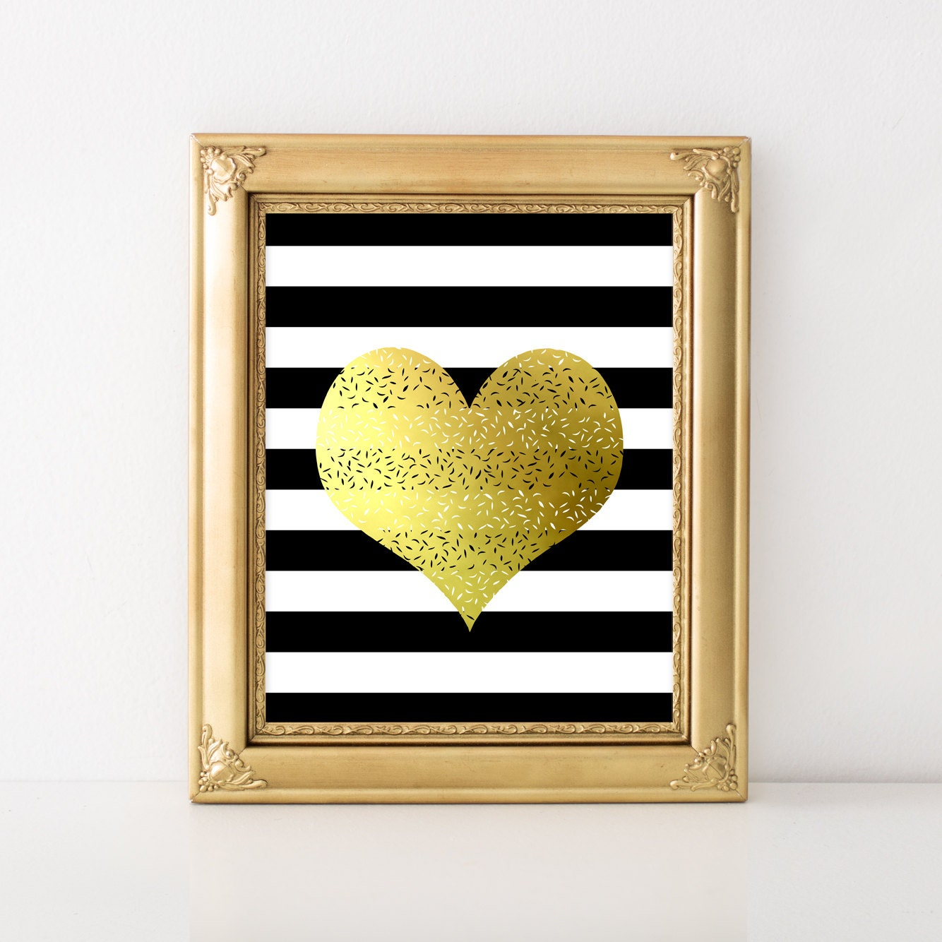 Heart faux gold foil print black and white stripes black and for Gold wall art