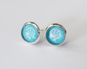 Seashell glass dome summer beach earrings