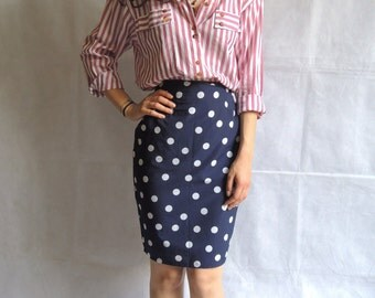 Vintage Mini Dark Blue High Waist Pencil Polka Dot Skirt
