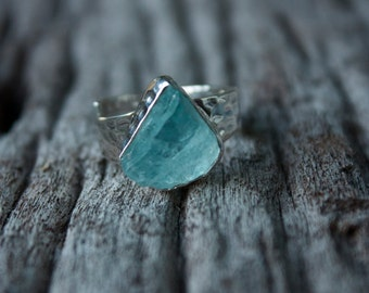 Luscious Raw Aquamarine Ring with Beaten Sterling Silver + Adjustable Band