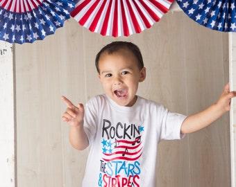 Rockin' the Stars & Stripes 4th of July Onesie/Shirt - 0-24 months - 2T-14/16
