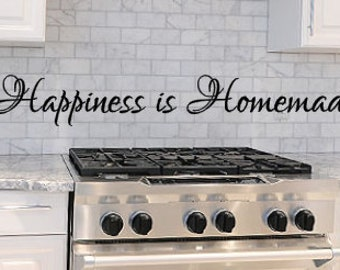 Happiness, Homemade, Vinyl, Wall, Decal, Home, Decor, Room, Kitchen, Dining room,