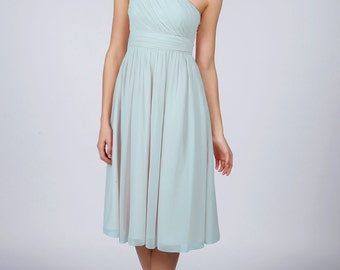 Light Blue One Shoulder Short Bridesmaid/Prom Dress by Matchimony