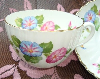 Radford Bone China Vintage Tea Cup and Saucer- Pink and Blue Morning Glory Flowers - Made in England