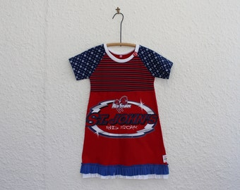 Upcycled NY Mets T Shirt Dress Girls Size 6 by cynthiamadeforkids