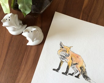 Fox Watercolor and Ink