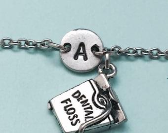 Dental floss charm bracelet, dental floss charm, adjustable bracelet, hygiene, personalized bracelet, initial bracelet, monogram