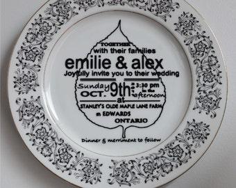 CUSTOM - Plate with Wedding Invitation / Souvenir / Memento / Wedding Invitations / Wall Décor / Vows