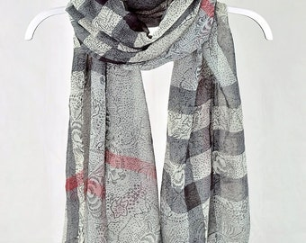 Shawls, Striped Scarf, Red Scarf, Gray Scarf, Scarf, Black Scarf, Large Scarves, Varicolored Scarf, womens scarf, Gift for Her (VS-23-02)