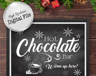 Hot Chocolate Bar Sign, Warm Up Here Sign, Wedding Printables, Snowflakes Hot Chocolate Bar, Instant Download, Digital Prints