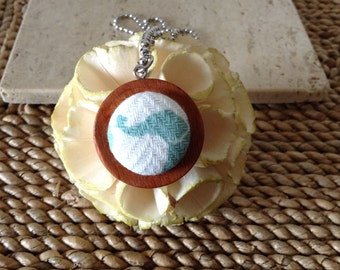 Upcycled/recycled Mom and Baby Elelephant fabric button on wooden pendant with ball chain necklace. Handmade. Cute as a button.