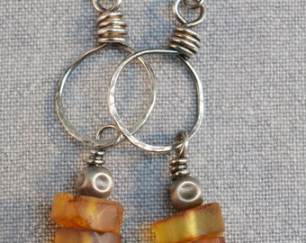 Handmade raw Baltic amber earrings