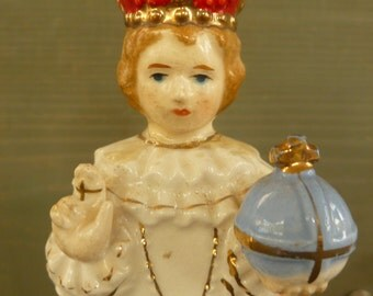 Adorable Vintage Infant Jesus Of Prague . Porcelaine Infant Jesus. Infant Jesus Figurine
