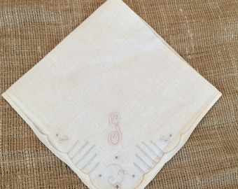 Monogram G Vintage Hankie, Vintage Embroidery & Cut Work Detailing. Linen Blend