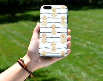 1376 // Gold Pineapple on Black and White Stripes Phone Case iPhone 5/5S, 6/6S, 6+/6S+ Samsung Galaxy S5, S6, S6 Edge Plus, S7
