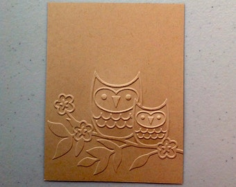 Stampin Up card fronts (4) embossed with Darice OWLS ON A TWIG design