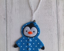 Blue polka dot, felt penguin, cute door or wall decoration