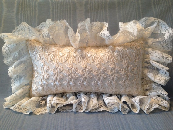 Victorian Shaped Pillows : Vintage Ivory Lace Pillow Victorian pillow by LaceAtMidnight