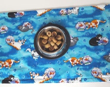 Cat Placemat, Pet Bowl Mat, Kitty Feeding Mat, Cat Food Mat, Washable, Reversible, Easy Care Machine Wash/Dry, Feline Design, Cat Supplies