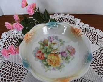 "Exquisite ""Roses"" Iridescent Bowl, Made in Germany"