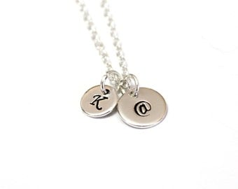 Sterling Silver Pendant @ Necklace, At Symbol @ Necklace Twitter Internet Jewelry, Initial Necklace, Best friend, Sisters, Bridesmaid Gifts