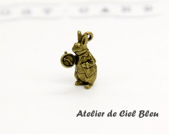 White Rabbit Charm, Alice in Wonderland White Rabbit Charm, Antique Bronze Rabbit Charm, Bunny Charm, Alice Charm