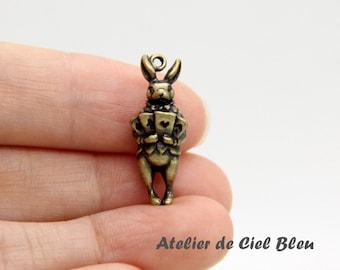 White Rabbit Charm, Alice in Wonderland White Rabbit Charm, Antique Bronze Rabbit Charm, Bunny Charm, Alice Charm, Rabbit Jewelry