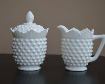 Fenton Hobnail Sugar & Creamer, Milk Glass, Fenton Milkglass