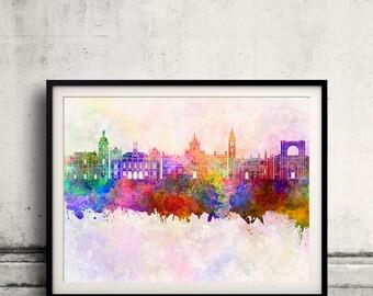 Valladolid skyline in watercolor background - Poster Digital Wall art Illustration Print Art Decorative - SKU 1921