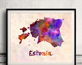 Estonia - Map in watercolor - Fine Art Print Glicee Poster Decor Home Gift Illustration Wall Art Countries Colorful - SKU 1690