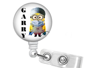 Personalized Minion Doctor, Retractable ID Badge Reel, Lanyard/Badge combo, Steth ID