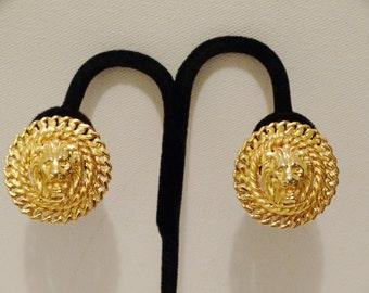 Vintage Gold Tone Lion Head Clip-on Earrings.