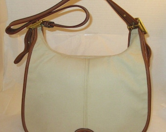 Coach Vintage Tan Leather & Beige Twill Crescent Hobo Tote - Refurbished - EVC