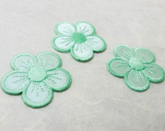 3 pcs Mint, Soft Green Embroidered Flower Patch  / Flower Patch /Embroidered Iron on Patch / Flower Applique  # 3
