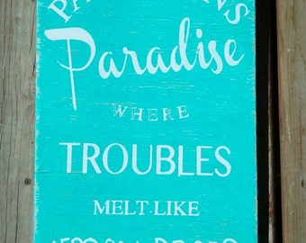 Paradise Sign Personalized, beach house décor, cottage wall art, patio wood canvas, outdoor décor, custom gift, hand painted 12x18