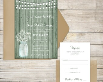 Wedding Invitation Suite, Mint Wedding Invitation, Rustic Wedding Invitation, Wooden, Baby's Breath, Mason Jar, Mint Green